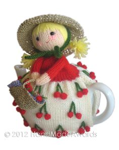 Cherry girl tea cozy Most adorable I must say!