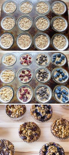 A standard baked oatmeal recipe is prepared in a muffin tin and topped with your favorite flavors (chocolate, fruit, etc.). A great grab and go breakfast!