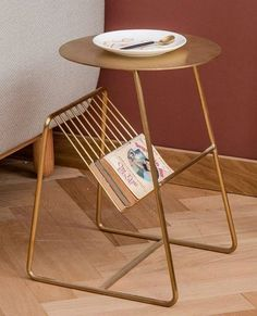 Gold side table Glamorous table that features a practical newspaper rack Convenient for placing laptops books magazines coffee etc Ikea Side Table, Rustic Side Table, Side Table Decor, Patio Side Table, Table Decor Living Room, Side Tables Bedroom, Wooden Side Table, Table Decorations, Table Centerpieces