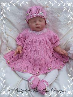 Lacy Dress Set for 16-22 inch dolls/0-3m baby-knitting pattern, doll, baby, babydoll handknit designs