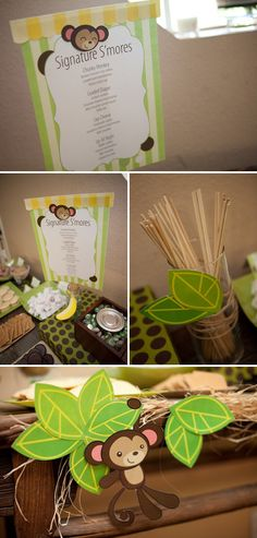 Signature chunky monkey s'more recipe! Cute for a monkey party!