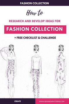 Discover how to research and develop ideas for your next fashion collection and a 30 days fashion collection inspiration challenge to build your inspiration bank and fill it. Also grab your free fashion collection checklist right here. Next Fashion, Fashion Line, Trendy Fashion, Fashion Design Drawings, Fashion Sketches, Design Your Own Clothes, Style Challenge, Fashion Challenge, Fashion Sketchbook