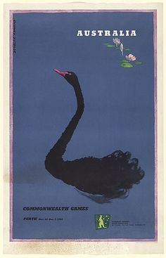 Douglas Annand, Poster for Perth Commonwealth Games, 1962.  Simple. The swan's tail suggests the influence of Japanese painting (well to me). Could you imagine anyone coming up with something so simple to advertise a sporting event these days? No? Me either... Shame. #travel #poster #australia