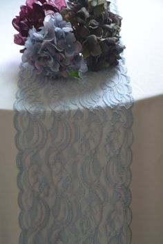 Blue Lace Trim 8 wide  and by the yard/ Table Runner by LolaAndBea