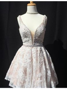 Sexy Prom Dress, Beaded V Neck Cute Prom Dresses,Elegant Short Prom Gown,Lace Homecoming Dress,Party Dress