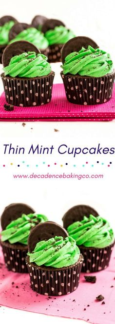 Girl Scout Cookie Inspired Thin Mint Cupcakes: A moist, easy to make chocolate cupcake topped with a fluffy mint buttercream, thin mint cookie crumbs and half of a thin mint cookie. Cupcake Recipes, Drink Recipes, Yummy Recipes, Cupcake Cakes, Dessert Recipes, Yummy Food, Desserts, Mint Oreo, Thin Mint Cookies