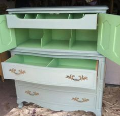 Painted inside of chest of drawers