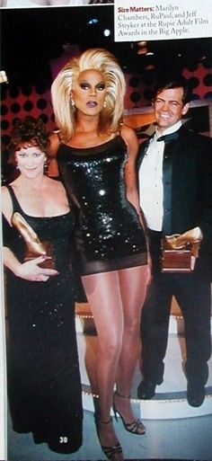 """marilynchambersarchive:  """" Marilyn with RuPaul and Jeff Stryker during a taping of The RuPaul Show, which aired April 25, 1998. The episode, entitled """"The Rupie Awards,"""" honored those in the adult entertainment industry. This photo was featured in Out..."""