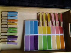 Colour gradient match up with pegs and paint chips
