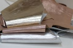 Leather  Scraps, Gold Genuine Leather Offcuts, Metallic Silver Leather Scrap by JLLeatherSupplies on Etsy