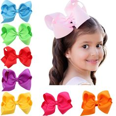 5 Inch Big Hair Bow headwear Solid Ribbon Hair Bows With Clip Boutique Hair Clips Hairpin newborn Hair Accessories #Affiliate