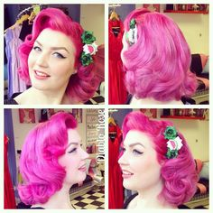 Yesterday's hair do, day 3 of my big curlset! Wearing Peachy Keen Lip Paint from and hair comb 🍉 Also I just saw the Coca-Cola Christmas Truck advert on TV, so in my mind, it's officially Christmas now! 1950s Hairstyles, Vintage Hairstyles, Wedding Hairstyles, School Hairstyles, Rockabilly Hair, Pin Up Hair, Pin Curls, Green Hair, Hair Dos