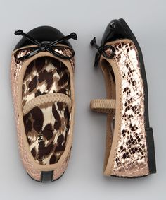 Take a look at this Gold Snake Quilted Ballet Flat by Safari Style: Kids' Apparel & Shoes on #zulily today!