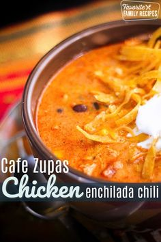 You have got to try our version of Cafe Zupas Chicken Enchilada Chili! It's loa… You have got to try our version of Cafe Zupas Chicken Enchilada Chili! It's loaded with seasoned chicken, beans, and corn in a creamy, slightly spicy, soup. Chili Recipes, Slow Cooker Recipes, Mexican Food Recipes, Crockpot Recipes, Soup Recipes, Chicken Recipes, Cooking Recipes, Best Mexican Chicken Soup Recipe, Recipies