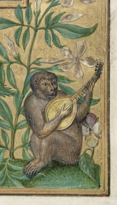 Obviously, we will need a minstrel gallery for the monkeys. Detail of monkey playing lute, from Splendor Solis, British Library Renaissance Music, Medieval Music, Medieval World, Medieval Art, Medieval Manuscript, Illuminated Manuscript, Medieval Paintings, Year Of The Monkey, Book Of Hours