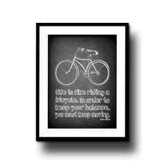 chalkboard art print chalk board bike typography quote home decor black white 8x10 motvational bicycle. $14.95, via Etsy.