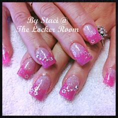 Hot pink and bling nails