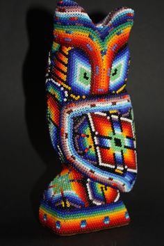 Huichol Art Beaded Skull, Mexican Art, Owls, Nativity, Native American, Beading, O Beads, Beads, The Nativity