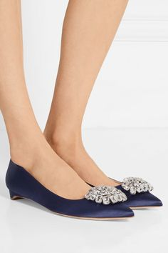 Heel measures approximately inches Navy satin Slip on Designer color: Moroccan Blue Made in Italy Satin Slip, Slip On, Moroccan Blue, Pointed Toe Flats, Blue Satin, Smooth Leather, Kitten Heels, Footwear, Italy