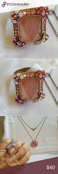COSTUME PIECE W/ GORGEOUS PINK HUED STONES This fabulous ring was bought in Lord & Taylor but never worn. It is costume jewelry at its best! Matches beautifully w/ genuine pink sapphire pendant that I have listed. Who knew?  Itbis size 6 but adjustable. BUY IT TODAY! Lord & Taylor Jewelry Rings