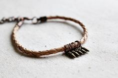 Leather Bracelet Beige Tan Woven Bracelet Boho by LittleBitsOFaith