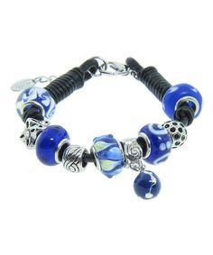 Look at this #zulilyfind! Genuine Leather & Blue Bead Bracelet With Swarovski® Crystals #zulilyfinds