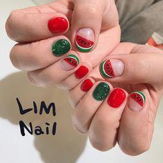 Watermelon Nail Korean Style l Fingernails Painted, Aycrlic Nails, Diy Nails, Swag Nails, Cute Nails, Pretty Nails, Hair And Nails, Fruit Nail Designs, Nail Art Designs