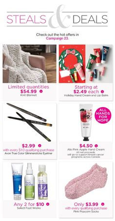These offers are for YOU! Avon True, Pink Apple, Hand Cream, Knitted Blankets, True Colors, Lip Balm, Bath And Body, Eyeliner, Skin Care