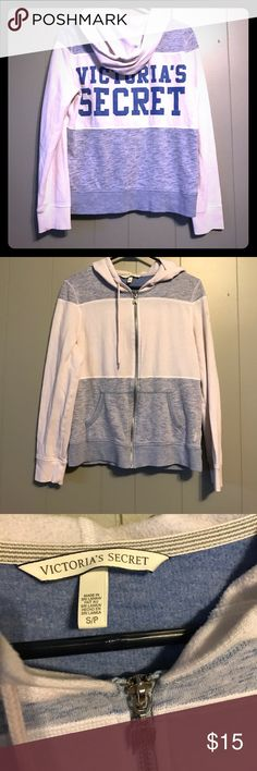 Victoria Secret zip up hoodie Light weight zip up hoodie worn a handful of times! White and light blue. Victoria's Secret Tops Sweatshirts & Hoodies