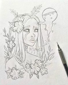 Girl Drawing Sketches, Art Drawings Sketches Simple, Pencil Art Drawings, Cool Drawings, Drawings Of Girls, Hipster Girl Drawing, Hipster Drawings, Drawing Girls, Cute Girl Drawing