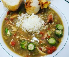 This is just like Seafood Gumbo, but has chicken instead of shrimp! I'll show you how to make a roux. Serve with French bread. Sausage Gumbo, Seafood Gumbo, Chili Soup, Chicken Sausage, Chana Masala, Soups And Stews, New Orleans, Cooking Recipes, Ethnic Recipes