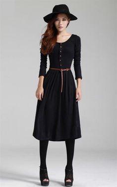 Шерстянное платье с длинном рукавом