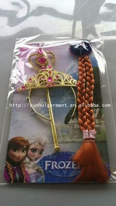 4~ 4.5$ Hot sale!!! large stock Frozen Elsa and Anna Children Kids Girl Halloween christmas party gift Accessories baby girls Headwear Crowns +Magic Wand + Hairband + Hairpiece wigCrown Wigs Wands from