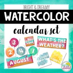 This gorgeous watercolor calendar set will look amazing in your classroom! With bright orange, pink and turquoise accents and white text, this dreamy calendar set will be the highlight of your classroom decor!