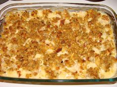 Talk about comfort food...1 pkg Stove Top, prepared as directed on box 4 chicken breasts, thawed and cut up into cubes 1 can Cream of Chicken Soup 1/2 cup milk 1&1/2 cups shredded mozzarella cheese Stir milk and soup together until smooth, and then add 1 cup of the cheese. Stir in chicken pieces, and pour into a 9x13 pan. Spread remaining cheese on top, then cover with prepared stuffing. Bake about 35 minutes at 375 degrees or until chicken is completely cooked.