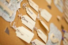 Tags were tied to vintage keys and used as escort cards.