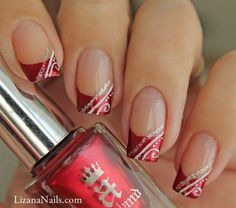 Nail Art Red french, christmas nails, silver and white detail French Manicure Nail Designs, French Tip Nails, Gel Nail Designs, Nail Manicure, Toe Nails, Nails Design, French Manicures, Red French Manicure, Nail French