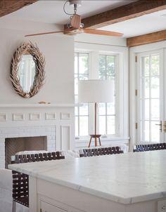 Benjamin Moore Gray Mist. A clean, modern design with strong, organic details. BellaRusticaDesign.com