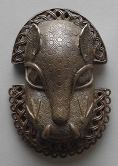 Edo Benin Kingdom, Nigeria Waist Pendant of a Leopard's Head, 17th/18th century