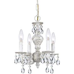 4-light mini chandelier with beaded drop accents.   Product: Mini chandelierConstruction Material: Metal and crys...