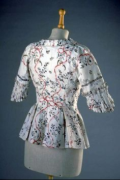 Jacket (reverse), Swiss, Printed floral cotton, 1780. Swiss National Museum