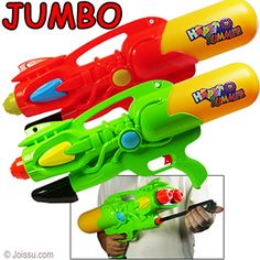 JUMBO DUAL NOZZLE PUMP WATER GUNS. The more you pump, the farther the water shoots. Removable tanks. Each polybagged with header. Perfect for the pool, beach or back yard.  Size 22 Inches, packaging 26 X 11 Inches