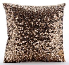 Shocker Gold - gold sequins Embroidered Silk Throw Pillows.