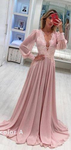 Pink Chiffon Long Sleeve Applique A-line Elegant Prom Dresses 4f17322fd437