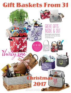#31 - Create the perfect Holiday Gift Basket with a variety of items from Thirty-One. Catch-All Bin, Your Way Rectangle Basket, Double Duty Caddy, Mini Storage Bin, Littles Carry-All Caddy, Utility Tote all make perfect containers. Add a Close to Home Tray, wine and cheese for the perfect Christmas or housewarming gift. Need someone more? Combine your gift Basket with a personalized Pillow from Thirty-One. Find more at MyThirtyOne.com/PiaDavis or select your consultant on the 31website.