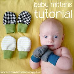 No scratch baby mittens -Speckled Owl Studio: Tutorial- Baby Mittens Crochet Baby Blanket Beginner, Easy Baby Blanket, Crochet Granny, Baby Sewing Projects, Sewing For Kids, Sewing Ideas, Free Sewing, Kit Bebe, Baby Mittens