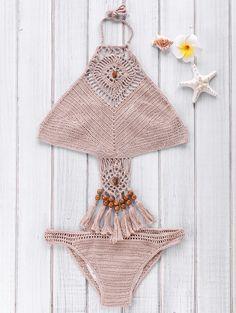 Crocheted High Neck Openwork Bikini Set KHAKI: Bikinis | ZAFUL