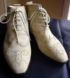Vintage shoes ankle boots tan tooled leather wing tip Made in Spain by vintagerunway, via Flickr
