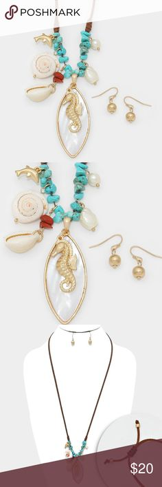 "Mother Pearl Sea Life Necklace + Earring Set • Color : Matte gold, Turquoise • Theme : Reptile, Sea Life, Shell  • Necklace Size : 30"" L / Adjustable • Pendant Size : 1"" X 2.5"" • Earrings Size : 0.75"" L • Mother of pearl & seahorse shell pendant faux suede cinch necklace Jewelry Necklaces"