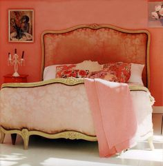 I would love a full Corbeille - where the headboard curves like the footboard. Peach Bedroom, Coral Bedroom, Pink Room, Dream Bedroom, Bedroom Decor, Pink Bedrooms, Bedroom Ideas, Boudoir, Pintura Exterior